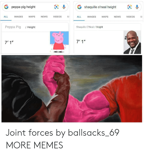"""Dank, Memes, and News: G shaquille o'neal height  G peppa pig height  IMAGES  ALL  IMAGES  МAPS  NEWS  VIDEOS  ALL  NEWS  VIDEOS  MAPS  S  Shaquille O'Neal/Height  Реppа Pig  /Height  7' 1""""  7'1"""" Joint forces by ballsacks_69 MORE MEMES"""