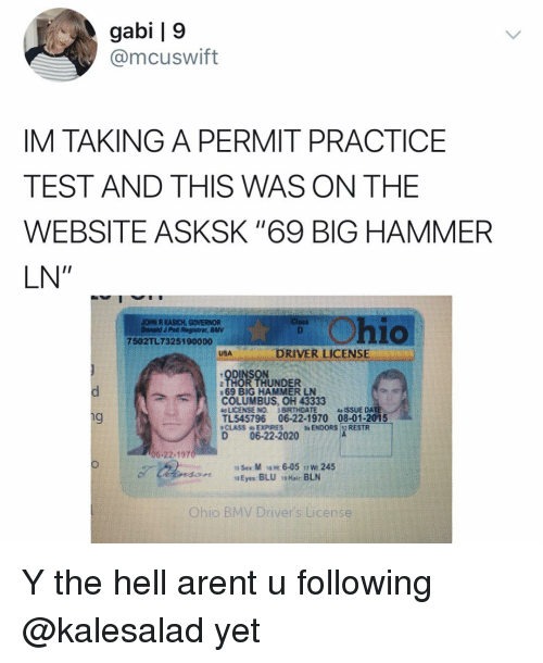 """Memes, Test, and Thor: gabi   9  @mcuswift  IM TAKING A PERMIT PRACTICE  TEST AND THIS WAS ON THE  WEBSITE ASKSK """"69 BIG HAMMER  LN""""  hio  DRIVER LICENSE  ODINSON  THOR THUNDER  COLUMBUS, OH 43333  TL545796 06-22-1970 08-01-2015  D06-22-2020  69 BiG HAMMER LN Y the hell arent u following @kalesalad yet"""