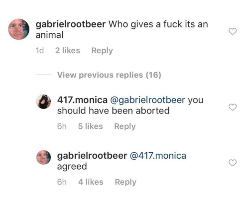 monica: gabrielrootbeer Who gives a fuck its an  animal  d 2 likes Reply  View previous replies (16)  417.monica @gabrielrootbeer you  should have been aborted  (#3  6h 5 likes Reply  gabrielrootbeer @417.monica  agreed  6h 4 likes Reply