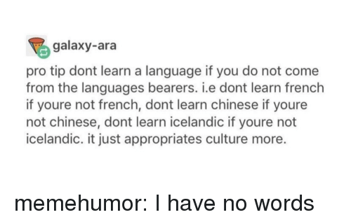 Icelandic: galaxy-ara  pro tip dont learn a language if you do not come  from the languages bearers. i.e dont learn french  if youre not french, dont learn chinese if youre  not chinese, dont learn icelandic if youre not  icelandic. it just appropriates culture more. memehumor:  I have no words