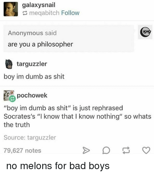 """melons: galaxysnail  meqabitch Follow  Anonymous said  are you a philosopher  targuzzler  boy im dumb as shit  pochowek  """"boy im dumb as shit"""" is just rephrased  Socrates's """"I know that I know nothing"""" so whats  the truth  Source: targuzzler  79,627 notes no melons for bad boys"""