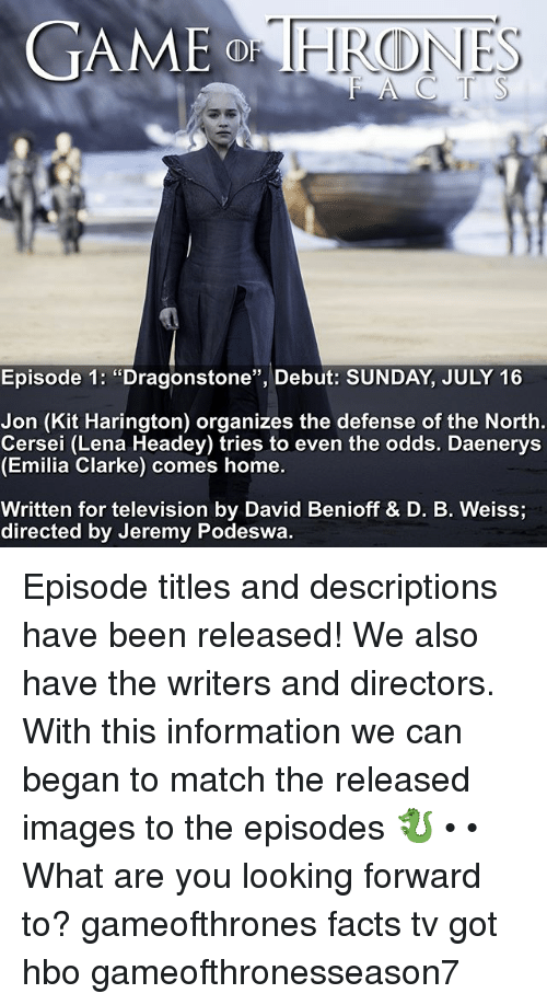 """Lena Headey: GAME  Episode 1: """"Dragonstone"""", Debut: SUNDAY, JULY 16  Jon (Kit Harington) organizes the defense of the North  Cersei (Lena Headey) tries to even the odds. Daenerys  (Emilia Clarke) comes home.  Written for television by David Benioff & D. B. Weiss  directed by Jeremy Podeswa. Episode titles and descriptions have been released! We also have the writers and directors. With this information we can began to match the released images to the episodes 🐉 • • What are you looking forward to? gameofthrones facts tv got hbo gameofthronesseason7"""