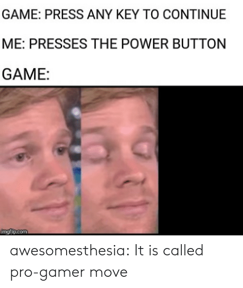 the power: GAME: PRESS ANY KEY TO CONTINUE  ME: PRESSES THE POWER BUTTON  GAME:  imgflip.com awesomesthesia:  It is called pro-gamer move