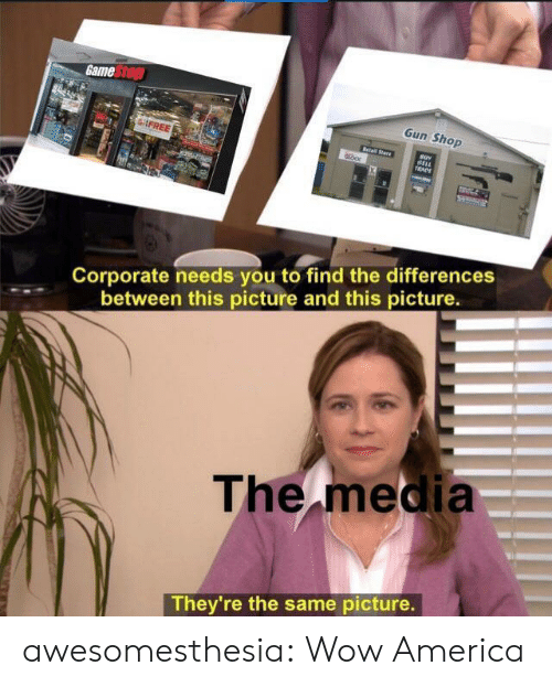 America, Tumblr, and Wow: Game Stop  Gun Shop  FREE  Retail Stare  BELL  TRADE  Corporate needs you to find the differences  between this picture and this picture.  The media  They're the same picture. awesomesthesia:  Wow America