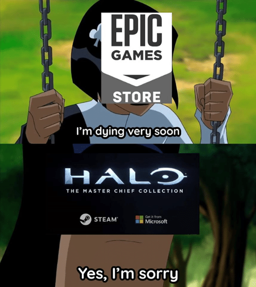 the master: GAMES  STORE  'mduinaiveru soon  HALO  THE MASTER CHIEF COLLECTION  STEAM  Get it from  il Microsoft  Yes, l'm sorry