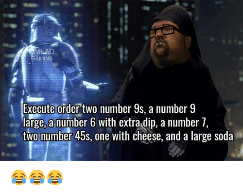 Number 9: GAMING  Execute order two  number  9s. a number 9  large, a number 6 with extra dip, a number 7  two number 45s, one with cheese, and a large soda 😂😂😂