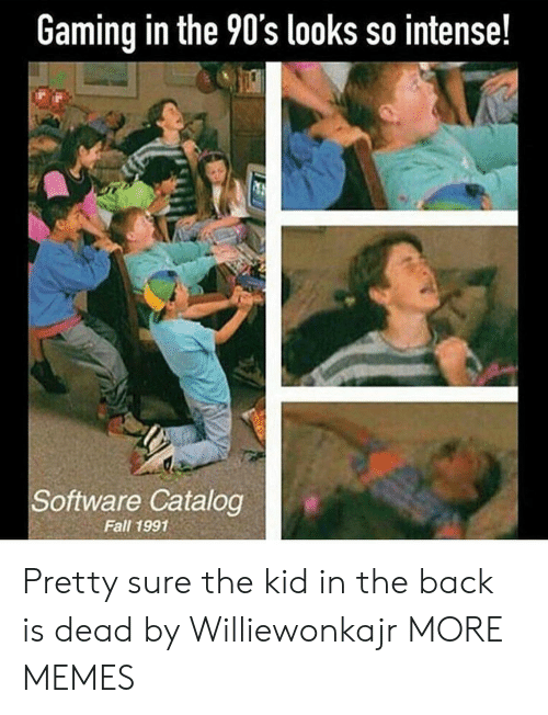 the 90s: Gaming in the 90's looks so intense!  Software Catalog  Fall 1991 Pretty sure the kid in the back is dead by Williewonkajr MORE MEMES