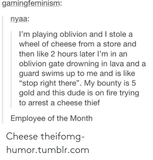 """Theif: gamingfeminism:  nyaa:  I'm playing oblivion and I stole a  wheel of cheese from a store and  then like 2 hours later l'm in an  oblivion gate drowning in lava and a  guard swims up to me and is like  """"stop right there"""". My bounty is 5  gold and this dude is on fire trying  to arrest a cheese thief  Employee of the Month Cheese theifomg-humor.tumblr.com"""