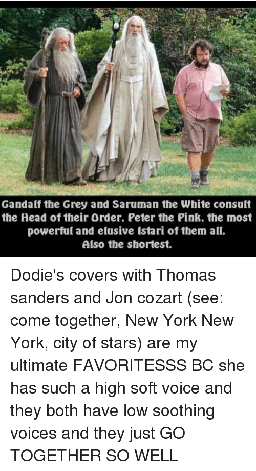 new york new york: Gandalf the Grey and Saruman the White consult  the Head of their Order. Peter the Pink. the most  powerful and elusive Istari of them all.  Also the shortest. Dodie's covers with Thomas sanders and Jon cozart (see: come together, New York New York, city of stars) are my ultimate FAVORITESSS BC she has such a high soft voice and they both have low soothing voices and they just GO TOGETHER SO WELL