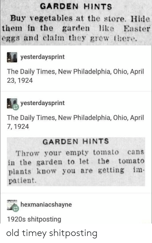 old timey: GARDEN HINTS  Buy vegetables at the store. Hide  in the garde ike Easter  the  eggs and clalm they gre  there.  yesterdaysprint  The Daily Times, New Philadelphia, Ohio, April  23, 1924  yesterdaysprint  The Daily Times, New Philadelphia, Ohio, April  7, 1924  GARDEN HINTS  Throw your empty tomato cans  in the garden to let the tomato  plants know you are getting m  patient.  hexmaniacshayne  1920s shitposting old timey shitposting