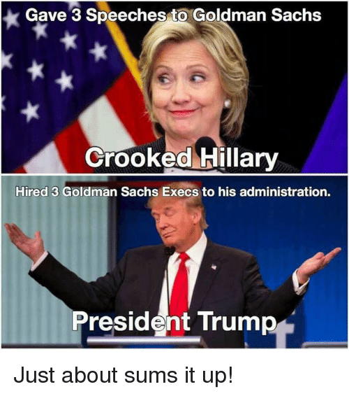 Memes, Goldman Sachs, and 🤖: Gave 3 Speeches to Goldman Sachs  Crooked Hillary  Hired 3 Goldman Sachs Execs to his administration.  President Trump Just about sums it up!