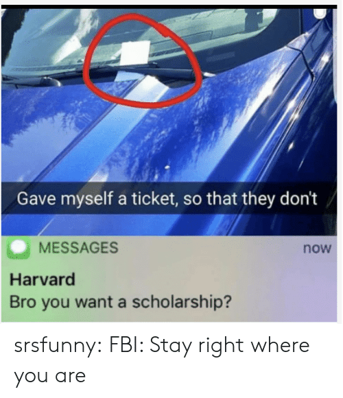 Harvard: Gave myself a ticket, so that they don't  MESSAGES  now  Harvard  Bro you want a scholarship? srsfunny:  FBI: Stay right where you are