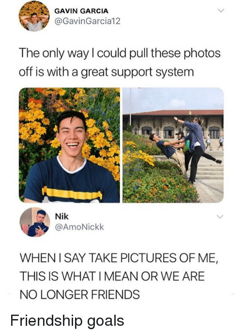 Friends, Goals, and Memes: GAVIN GARCIA  @GavinGarcia12  The only way l could pull these photos  off is with a great support system  Nik  @AmoNickk  WHENI SAY TAKE PICTURES OF ME,  THIS IS WHAT I MEAN OR WE ARE  NO LONGER FRIENDS Friendship goals