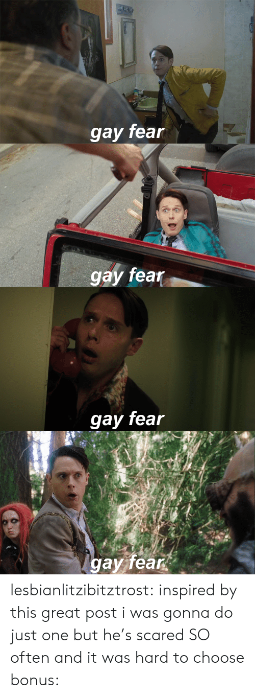 Gav: gay fean   gay fear   gay fear   gav fear lesbianlitzibitztrost: inspired by this great post i was gonna do just one but he's scared SO often and it was hard to choose bonus:
