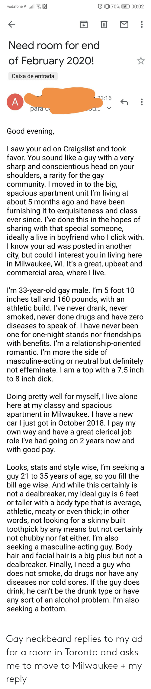 Move To: Gay neckbeard replies to my ad for a room in Toronto and asks me to move to Milwaukee + my reply