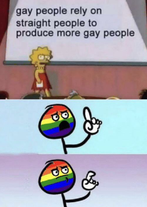 gay people: gay people rely on  straight people to  produce more gay people