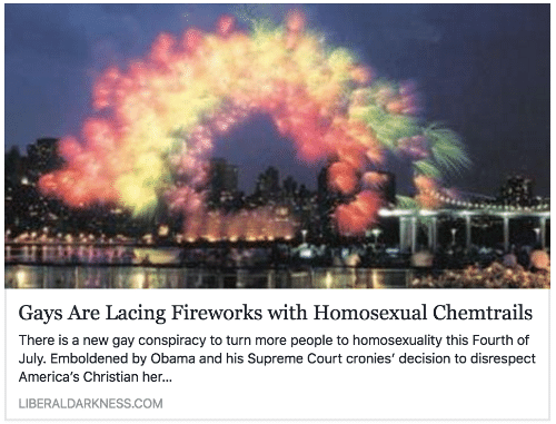chemtrails: Gays Are Lacing Fireworks with Homosexual Chemtrails  There is a new gay conspiracy to turn more people to homosexuality this Fourth of  July. Emboldened by Obama and his Supreme Court cronies' decision to disrespect  America's Christian her.  LIBERALDARKNESS.COM