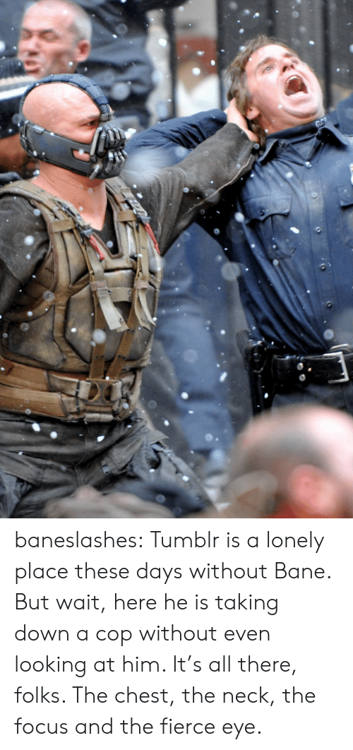 Bane: GC baneslashes:  Tumblr is a lonely place these days without Bane. But wait, here he is taking down a cop without even looking at him. It's all there, folks. The chest, the neck, the focus and the fierce eye.