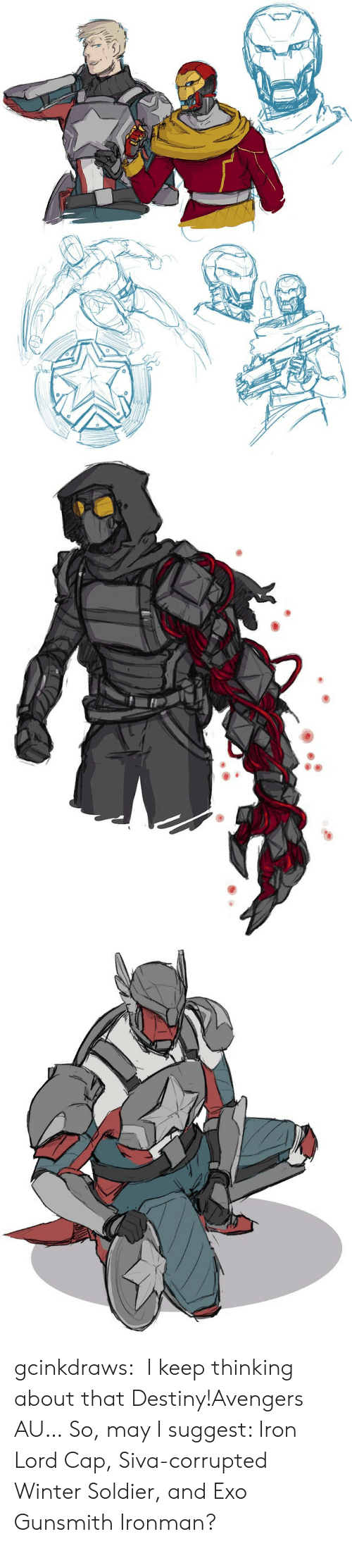 EXO: gcinkdraws:  I keep thinking about that Destiny!Avengers AU…So, may I suggest: Iron Lord Cap, Siva-corrupted Winter Soldier, and Exo Gunsmith Ironman?