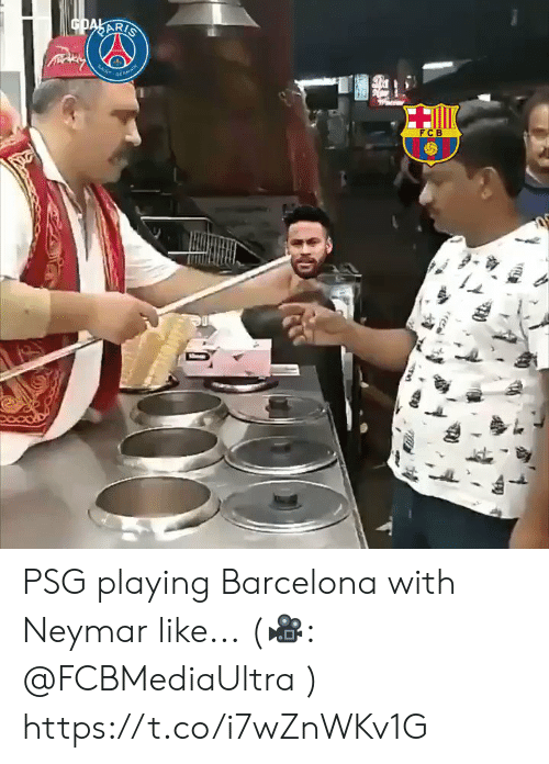 Barcelona: GDAKARIS  SAN  MA  FCB PSG playing Barcelona with Neymar like...  (🎥: @FCBMediaUltra ) https://t.co/i7wZnWKv1G