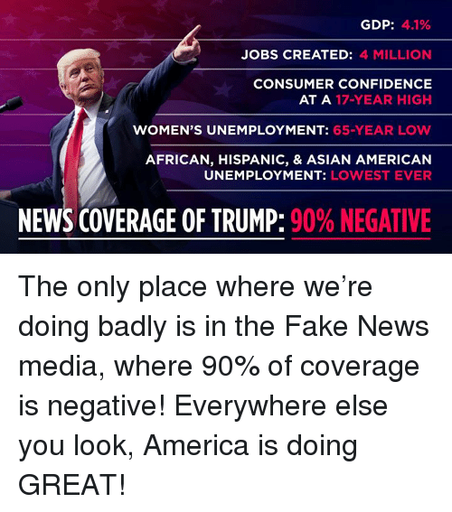 America, Asian, and Confidence: GDP: 41%  JOBS CREATED: 4 MILLION  CONSUMER CONFIDENCE  AT A 17-YEAR HIGH  WOMEN'S UNEMPLOYMENT: 65-YEAR LOW  AFRICAN, HISPANIC, & ASIAN AMERICAN  UNEMPLOYMENT: LOWEST EVER  NEWS COVERAGE OF TRUMP: 90% NEGATIVE The only place where we're doing badly is in the Fake News media, where 90% of coverage is negative! Everywhere else you look, America is doing GREAT!