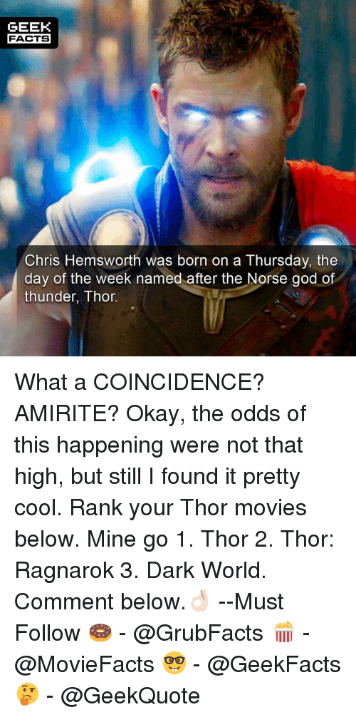 Chris Hemsworth, Facts, and God: GEEK  FACTS  Chris Hemsworth was born on a Thursday, the  day of the week named after the Norse god of  thunder, Thor What a COINCIDENCE? AMIRITE? Okay, the odds of this happening were not that high, but still I found it pretty cool. Rank your Thor movies below. Mine go 1. Thor 2. Thor: Ragnarok 3. Dark World. Comment below.👌🏻 --Must Follow 🍩 - @GrubFacts 🍿 - @MovieFacts 🤓 - @GeekFacts 🤔 - @GeekQuote