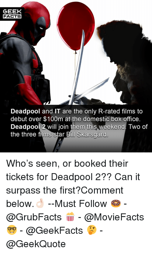 Facts, Memes, and Deadpool: GEEK  FACTS  Deadpool and IT are the only R-rated films to  debut over $100m at the domestic box office  Deadpool 2 will join them this weekend. Two of  the three films star Bill Skarsaärd Who's seen, or booked their tickets for Deadpool 2?? Can it surpass the first?Comment below.👌🏻 --Must Follow 🍩 - @GrubFacts 🍿 - @MovieFacts 🤓 - @GeekFacts 🤔 - @GeekQuote