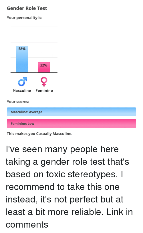 Link, Test, and Masculine: Gender Role Test  Your personality is:  58%  22%  Masculine Feminine  Your scores:  Masculine: Average  Feminine: Low  This makes you Casually Masculine.
