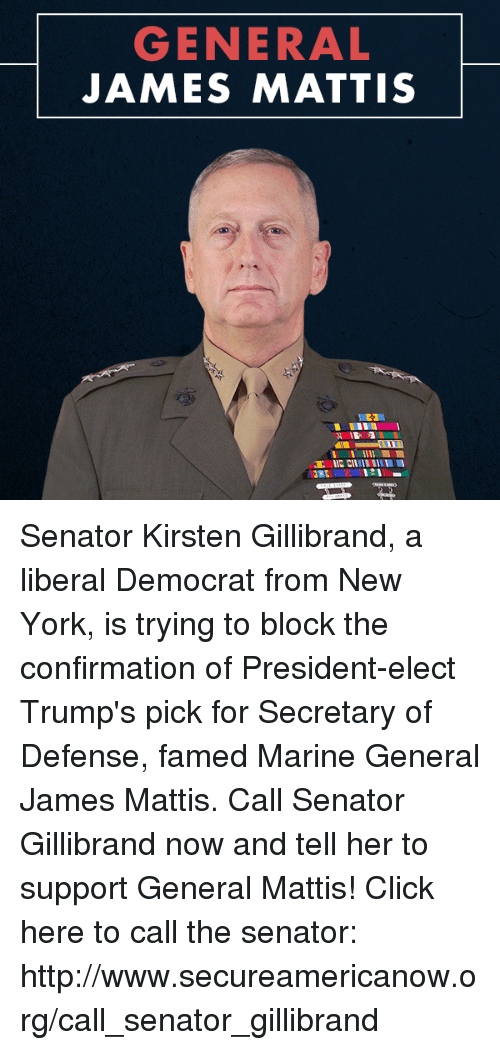 New York, Marines, and Conservative: GENERAL  JAMES MATTIS  IIG CIlill Ill I  :2RE Senator Kirsten Gillibrand, a liberal Democrat from New York, is trying to block the confirmation of President-elect Trump's pick for Secretary of Defense, famed Marine General James Mattis. Call Senator Gillibrand now and tell her to support General Mattis! Click here to call the senator: http://www.secureamericanow.org/call_senator_gillibrand