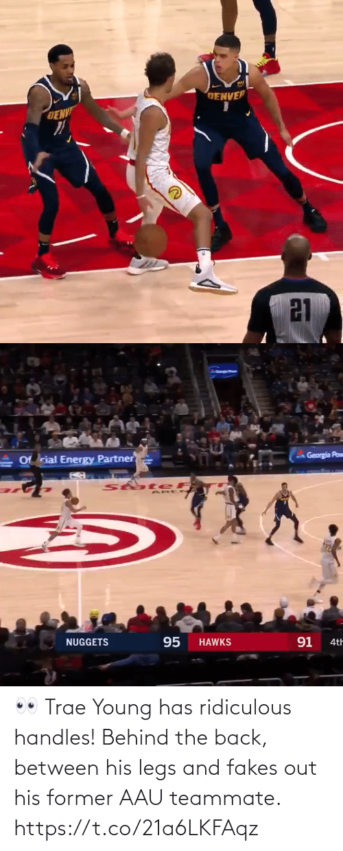 nuggets: GENVER  DENV  21   Georgia Pow  Of rial Energy Partner  StateF  95  91  NUGGETS  HAWKS  4th 👀 Trae Young has ridiculous handles! Behind the back, between his legs and fakes out his former AAU teammate.   https://t.co/21a6LKFAqz