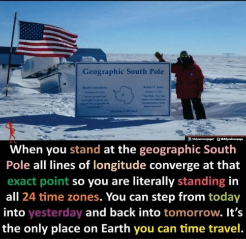 Standing: Geographic South Pole  Rabert F. Soalt  Resd Amundaen  Fevai  The Falo Yos. e  seama Inom  ther ptd  olevation 9 Ml fet  When you stand at the geographic South  Pole all lines of longitude converge at that  exact point so you are literally standing in  all 24 time zones. You can step from today  into yesterday and back into tomorrow. It's  the only place on Earth you can time travel.