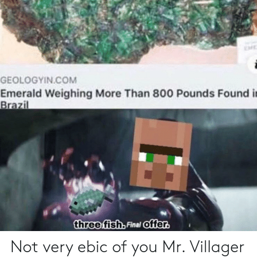 Brazil, Fish, and Com: GEOLOGYIN.COM  Emerald Weighing More Than 800 Pounds Found i  Brazil  three fish, Final Offer. Not very ebic of you Mr. Villager
