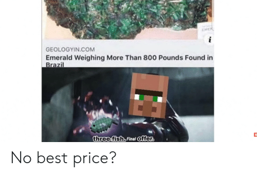 Reddit, Best, and Brazil: GEOLOGYIN.COM  Emerald Weighing More Than 800 Pounds Found in  Brazil  three fish, Final offer. No best price?