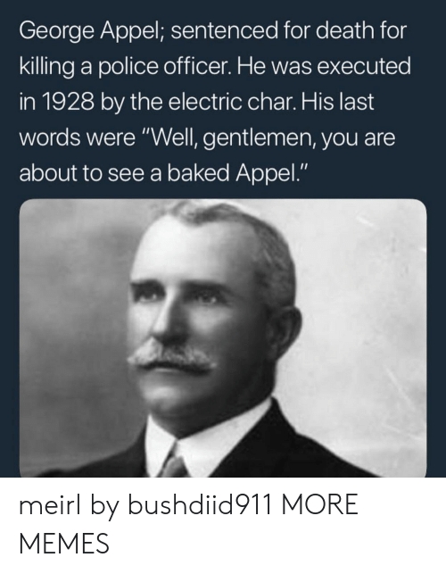 """Char: George Appel; sentenced for death for  killing a police officer. He was executed  in 1928 by the electric char. His last  words were """"Well, gentlemen, you are  about to see a baked Appel."""" meirl by bushdiid911 MORE MEMES"""