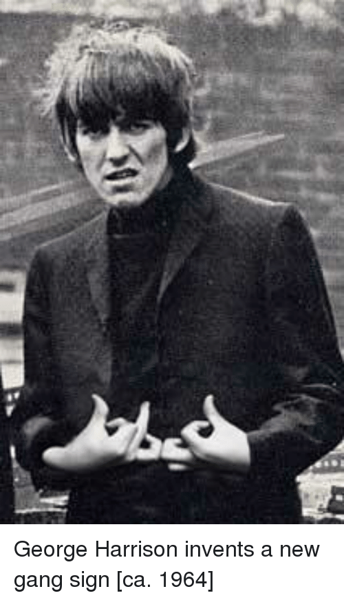 Gang Sign: George Harrison invents a new gang sign [ca. 1964]