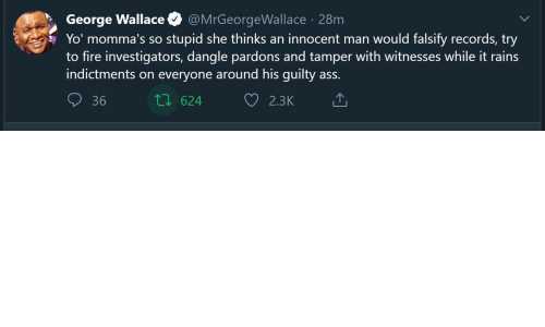 innocent: George Wallace  Yo' momma's so stupid she thinks an innocent man would falsify records, try  to fire investigators, dangle pardons and tamper with witnesses while it rains  indictments on everyone around his guilty ass.  @MrGeorgeWallace · 28m  27 624  36  2.3K