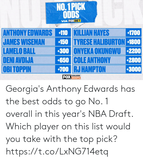 To Go: Georgia's Anthony Edwards has the best odds to go No. 1 overall in this year's NBA Draft.   Which player on this list would you take with the top pick? https://t.co/LxNG714etq