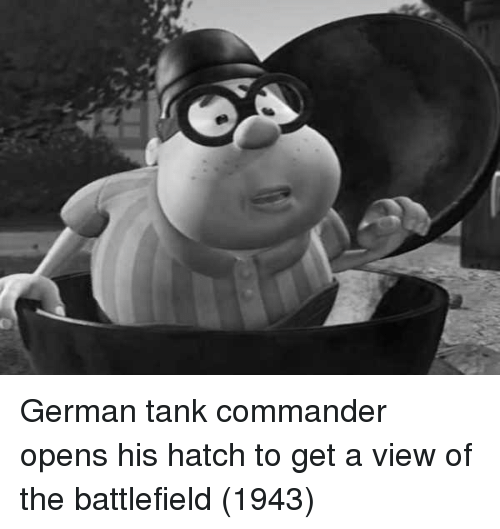hatch: German tank commander opens his hatch to get a view of the battlefield (1943)