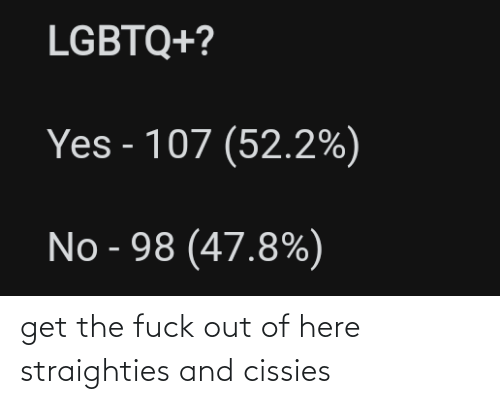 Fuck Out: get the fuck out of here straighties and cissies
