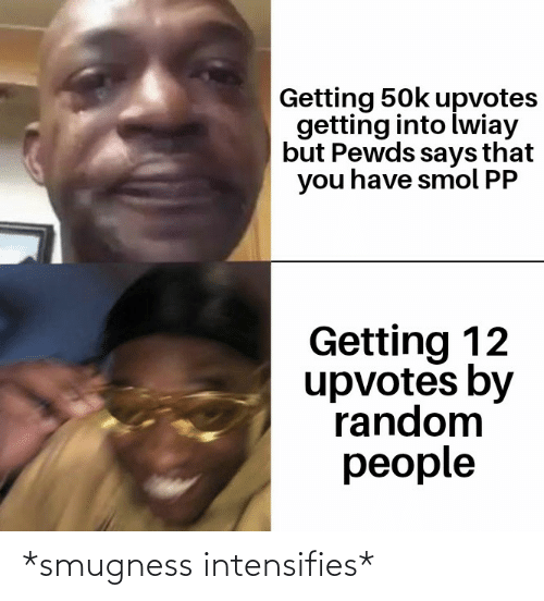 Smugness: Getting 50k upvotes  getting into iwiay  but Pewds says that  you have smol PP  Getting 12  upvotes by  random  people *smugness intensifies*