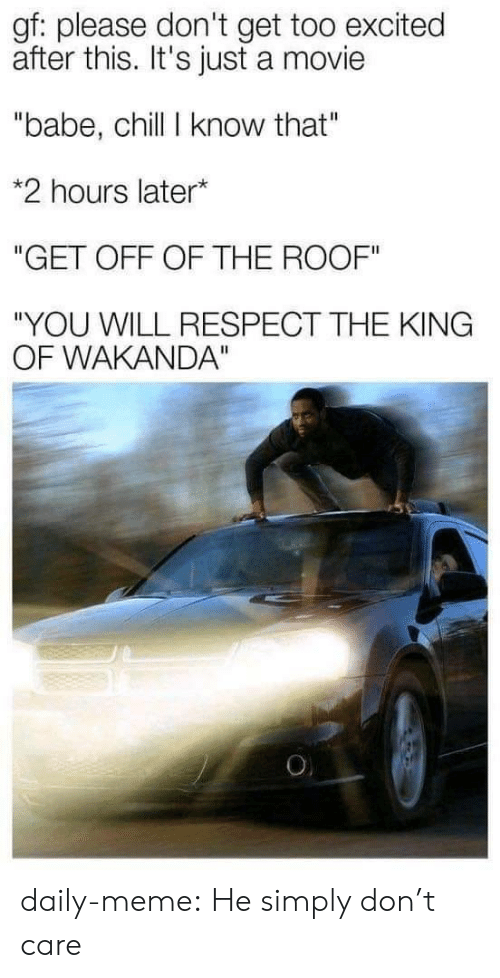 "Chill, Meme, and Respect: gf: please don't get too excited  after this. It's just a movie  ""babe, chill I know that""  *2 hours later*  ""GET OFF OF THE ROOF""  ""YOU WILL RESPECT THE KING  OF WAKANDA""  O daily-meme:  He simply don't care"