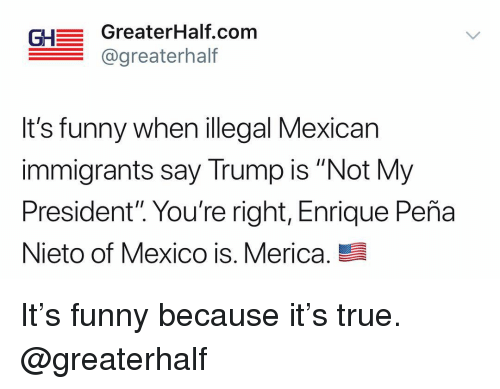 "Enrique Peña Nieto: GH GreaterHalf.com  @greaterhalf  It's funny when illegal Mexican  immigrants say Trump is ""Not My  President"". You're right, Enrique Peña  Nieto of Mexico is. Merica. It's funny because it's true. @greaterhalf"