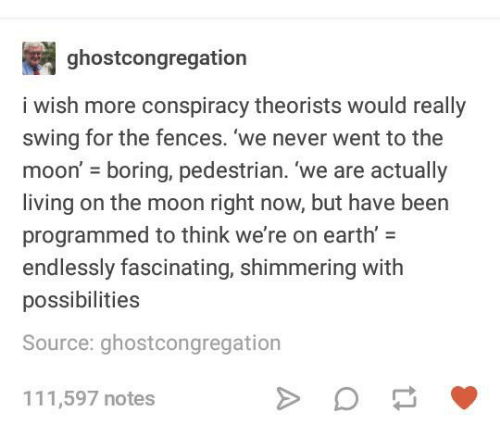 Fences: ghostcongregation  i wish more conspiracy theorists would really  swing for the fences. we never went to the  moon' boring, pedestrian. 'we are actually  living on the moon right now, but have been  programmed to think we're on earth-  endlessly fascinating, shimmering with  possibilities  Source: ghostcongregation  111,597 notes