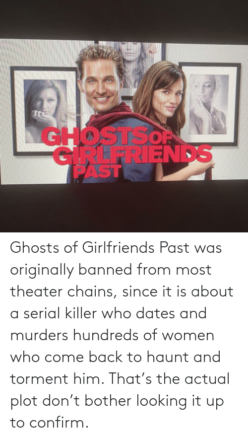 serial killer: Ghosts of Girlfriends Past was originally banned from most theater chains, since it is about a serial killer who dates and murders hundreds of women who come back to haunt and torment him. That's the actual plot don't bother looking it up to confirm.