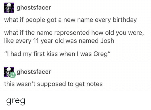 """New Name: ghostsfacer  what if people got a new name every birthday  what if the name represented how old you were,  like every 11 year old was named Joslh  """"I had my first kiss when I was Greg""""  ghostsfacer  ra  this wasn't supposed to get notes greg"""