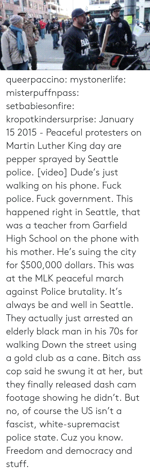 Ass, Bitch, and Club: GHT  RGNTS queerpaccino: mystonerlife:  misterpuffnpass:  setbabiesonfire:  kropotkindersurprise: January 15 2015 - Peaceful protesters on Martin Luther King day are pepper sprayed by Seattle police. [video] Dude's just walking on his phone.  Fuck police. Fuck government.  This happened right in Seattle, that was a teacher from Garfield High School on the phone with his mother. He's suing the city for $500,000 dollars. This was at the MLK peaceful march against Police brutality. It's always be and well in Seattle. They actually just arrested an elderly black man in his 70s for walking Down the street using a gold club as a cane. Bitch ass cop said he swung it at her, but they finally released dash cam footage showing he didn't.  But no, of course the US isn't a fascist, white-supremacist police state. Cuz you know. Freedom and democracy and stuff.