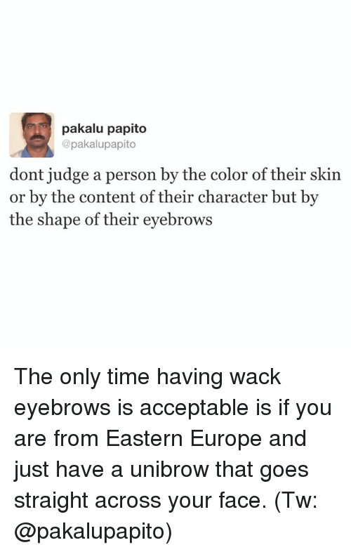 unibrow: gi pakalu papito  @pakalupapito  dont judge a person by the color of their skin  or by the content of their character but by  the shape of their eyebrows The only time having wack eyebrows is acceptable is if you are from Eastern Europe and just have a unibrow that goes straight across your face. (Tw: @pakalupapito)