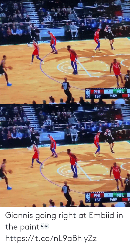 Paint: Giannis going right at Embiid in the paint👀 https://t.co/nL9aBhlyZz
