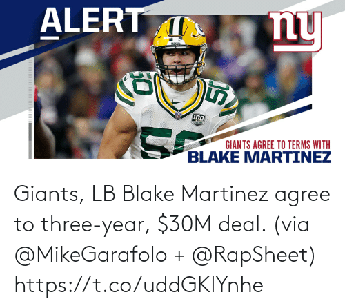 Giants: Giants, LB Blake Martinez agree to three-year, $30M deal. (via @MikeGarafolo + @RapSheet) https://t.co/uddGKlYnhe