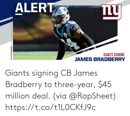 Giants: Giants signing CB James Bradberry to three-year, $45 million deal. (via @RapSheet) https://t.co/t1L0CKfJ9c